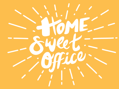 Home Sweet Office phrase cheerful bright yellow office sweet home handletter