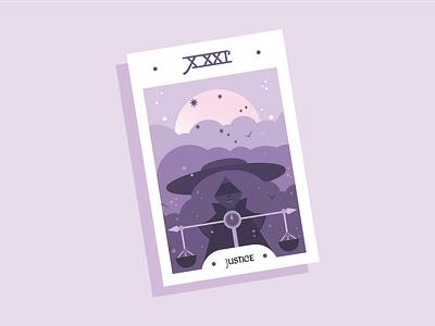 Tarot card purple halloween october libra tarot justice