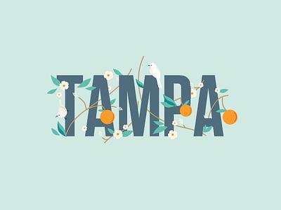 Tampa Flora and Fauna flordia summer birds orange flowers floral fruit illustration tampa