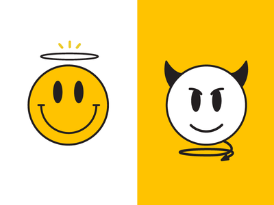 Best + Worst illustration badge fun duality balance yellow emoji smileys angel devil evil bad good smiley