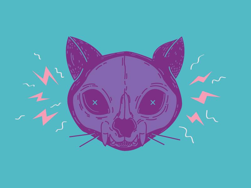 Power Cat cute fun illustration kitty skeleton color skull cat