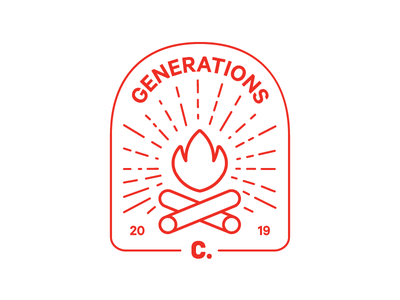 Change Generations campus lineart lines line campaign rays fire campfire camp camping badge cute fun illustration