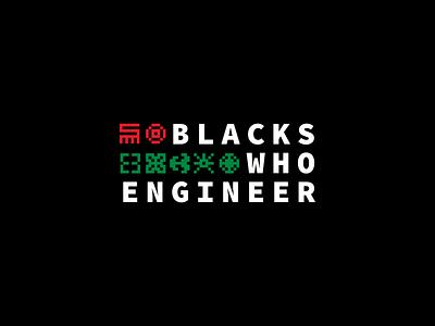 Blacks Who Engineer anansi brand logo adinkra 8bit afrotech hiring social good