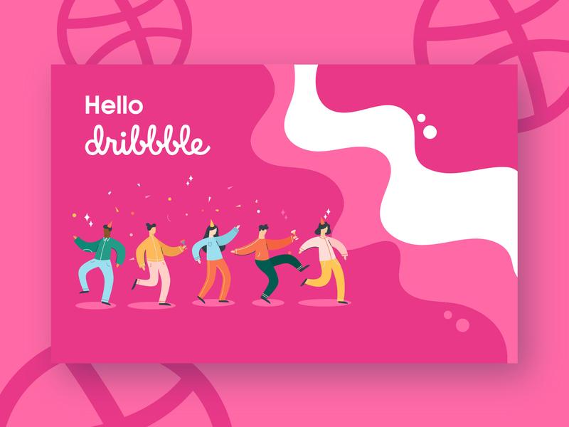 Hello Dribbble illustration