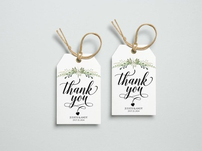 Free Wedding Thank You Tag Template Floral Style