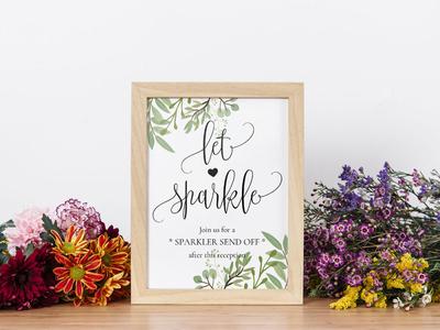 Free Floral Sparkler Send Off Sign Template
