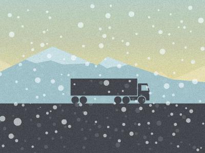 Semi Truck landscape semi truck winter road mountains snow