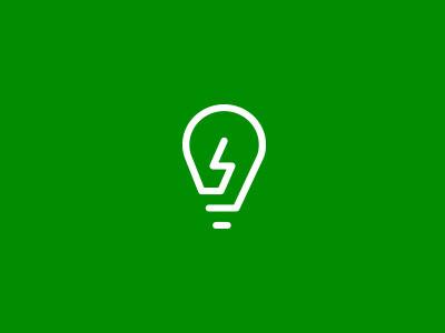 Ed Studio icon light bulb green line lightening bolt
