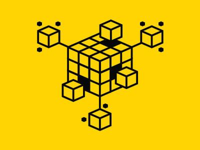 Tech line illustration cube technology scale expand