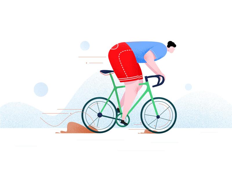 骑车 插画