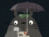 Totoro on his phone - Work In Progress