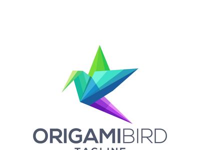 Origami Bird Logo Design  Illustration