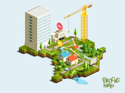 Blocks map creator map block landscape landmark house tree lowpoly