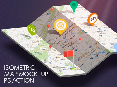 Isometric Map Mock-Up creator map mock-up infographic pin perspective