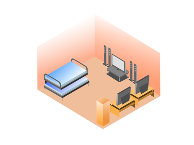 Isometric rumah flat design illustration