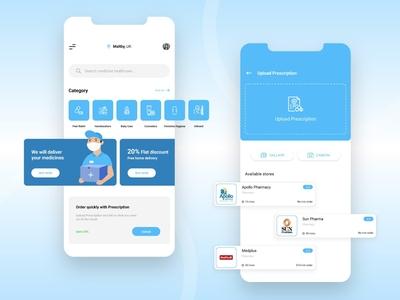 Pharmacy/Medicine Delivery App Design on demand app mobile app design medicine delivery medicine medical healthcare health delivery app app screens application app development app design