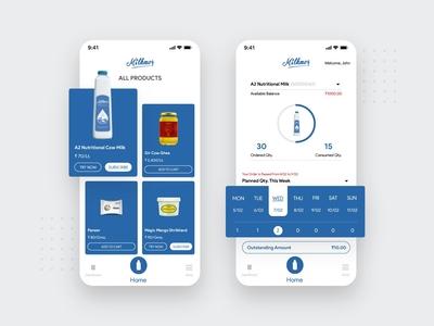 Milk Delivery App Design ux app android app ios app concept illustration ui mobile app design milk product milk delivery app milk design delivery app design delivery application app design
