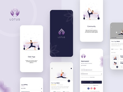 Yoga & Meditation App Design illustration app designers concept design concept android app ios app meditation yoga yoga  meditation app meditation app yoga app design app design design ux ui mobile app design app