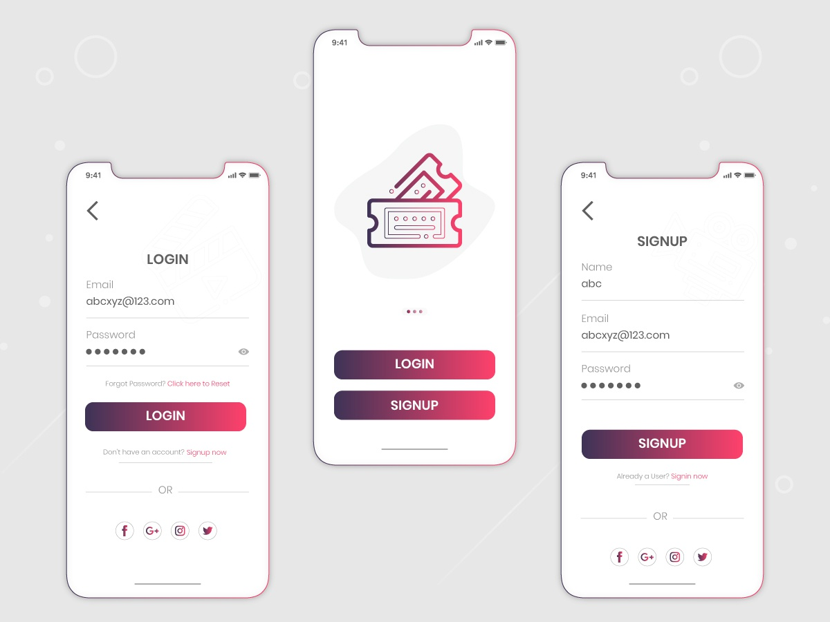 Signup / Login Concept design android app movie app signup screen login screen concept illustration app