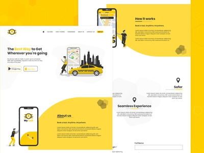 Taxi Booking Landing Page concept