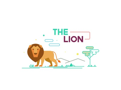 The Lion design shapes color vector illustration