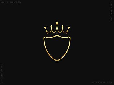 Golden Crown with Shield creative logo design branding illustrator vector design illustration graphic design logo