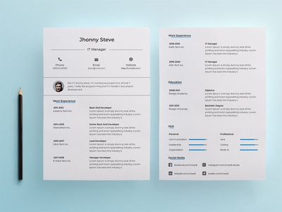 Free IT Manager Resume Template psd free resume template design resume freebie freebies