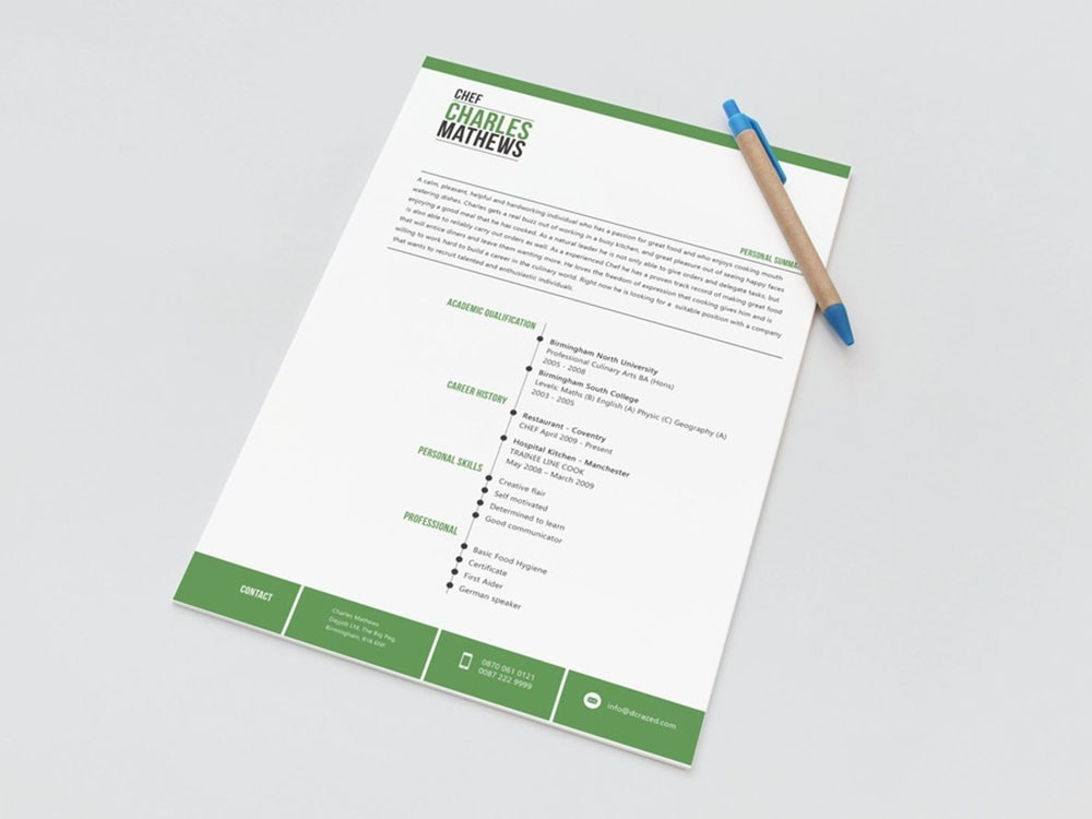 Free Chef Resume Template by Alan Henderson on Dribbble