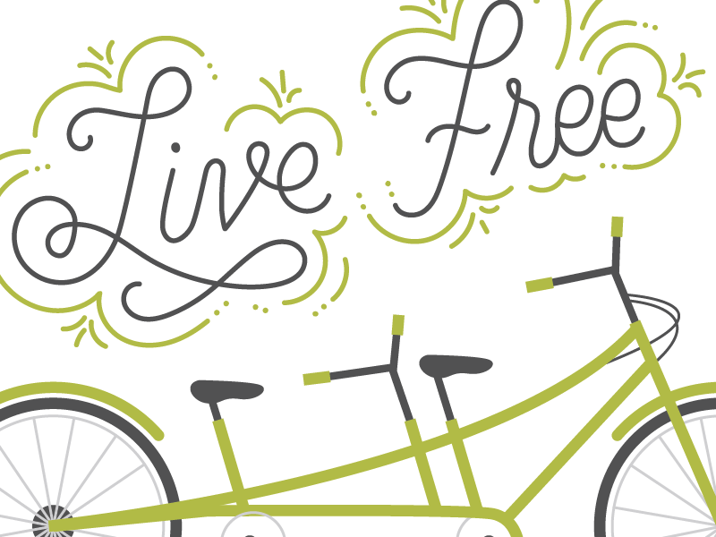 live free - bicycle lettering WIP illustration bike lettering