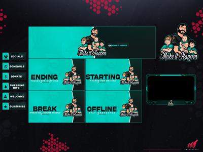 Full twitch overlay packagee for a #family ui vector design twitch overlay twitch streaming layout illustration logo branding