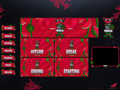 #WATERMELON in a full twitch overlay package vector design motion graphics graphic design 3d animation ui twitch overlay twitch streaming layout illustration logo branding