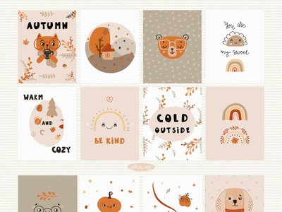 Posters from Autumn Baby Abstract Collection 💛 wall art nursery posters posters kids kids graphic baby baby illustration design vector kids illustration animals characters design cute