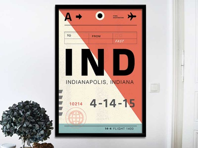 Indy Bag Tag flight airplane poster bag tag indy