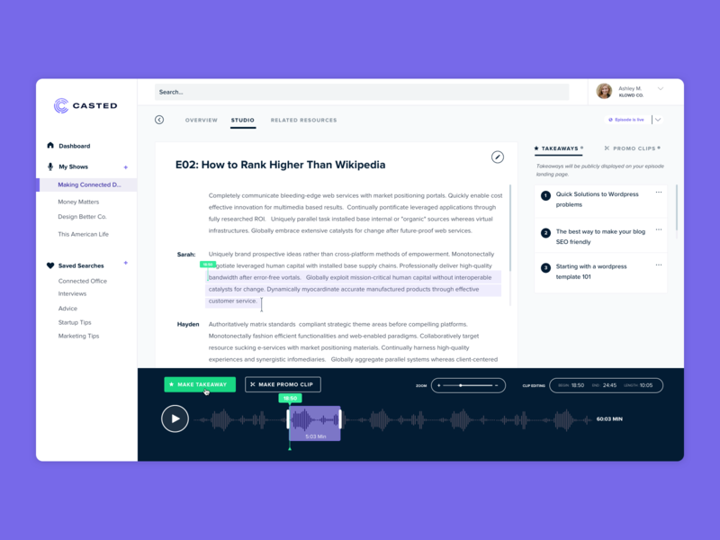 Podcasting Platform transcript audio editing sharing clipping audio podcast
