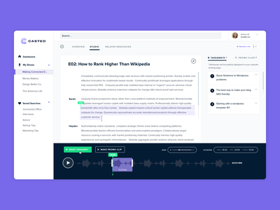 Podcasting Platform transcript audio editing sharing clipping audio podcast