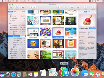 All in Base ux ui application tool easy view organize search inspiration collect mac app