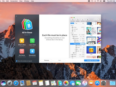 Welcome to All in Base window view ux ui tool search organize mac inspiration easy collect welcome app