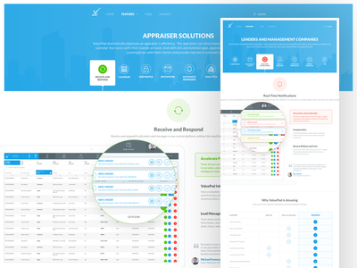 ValuePad - Features categories web ux ui simple saas minimal overview features comparison tabs appraisal