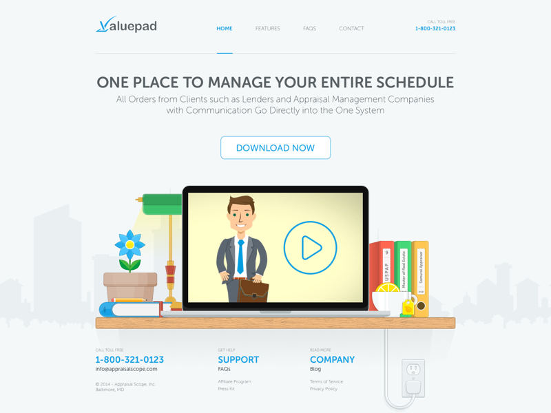 ValuePad - Old Homepage Design laptop desk web ux ui simple minimal house homepage hero building appraisal