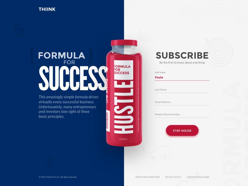 Subscribe form principles investor entrepreneur guide book form subscribe success formula hustle juice bottle