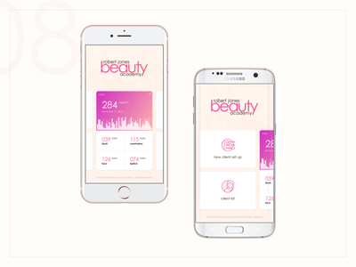 Personal Beauty Dashboard artist makeup management settings categories stats galaxy iphone mobile beauty dashboard cards