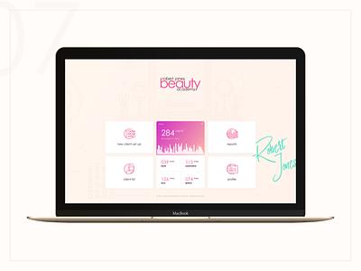 Personal Beauty Dashboard artist makeup management settings categories stats flat macbook desktop beauty dashboard cards