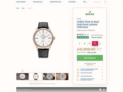 Product Details Page luxury item description product online shop e-commerce retail brand watches