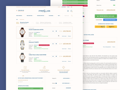 Shopping Basket watches store checkout overview cart shopping basket e-commerce brand