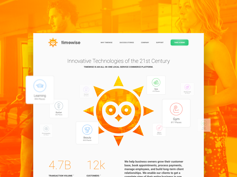 TimeWise Company Overview Page cloud service colorful design ui ux marketing website interface web site service simple saas minimalistic style clean layout company overview product landing page sun logo time wise