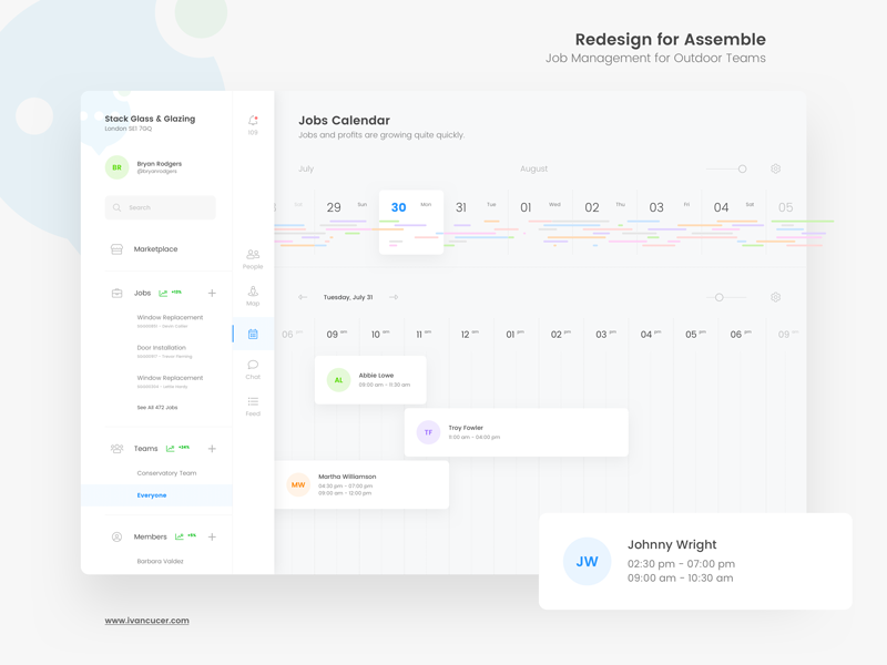 Jobs Calendar for Assemble Platform minimal simple ux ui interface clean timeline schedule user management graphs dashboard calendar