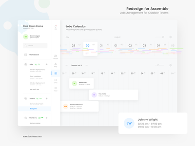 Jobs Calendar for Assemble Platform minimal simple ux ui interface clean timeline schedule user management graphs dashboard calendar