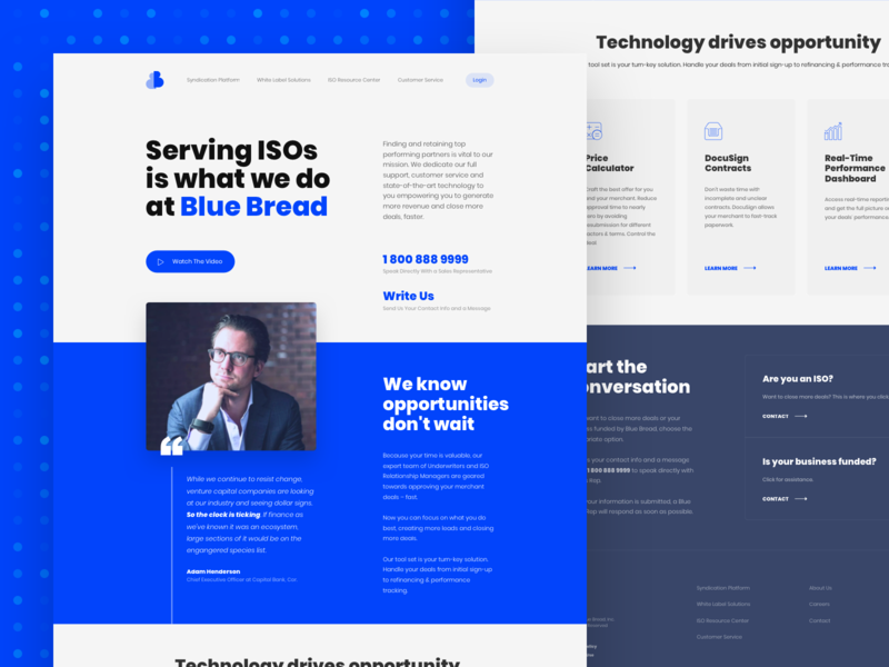 Blue Bread • Landing Page website web ui typography simple services saas minimal layout landing page iso enterprise design cloud business blue b2b