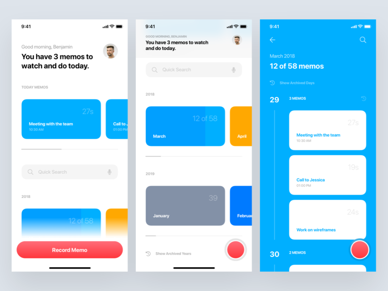 MemoTap • Video Reminder App video ux ui to-do tiles tasks task manager reminder record progress bar profile organizer mobile ios interface dashboard calendar blocks app account
