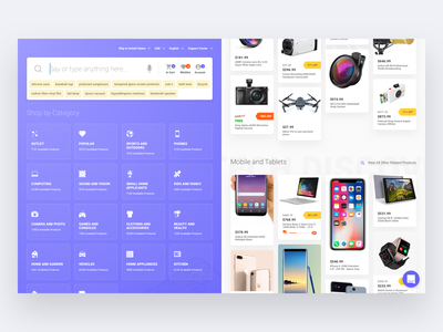 Landing page for new dropshipping company website web ux ui tags shopping shop search products online store menu landing page icons electronics ecommerce dropshipping discount design categories buy